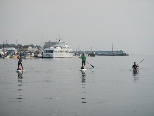 Paddling through a glassy Portland Harbor
