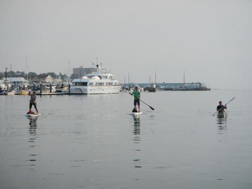 Paddling through a glassy Portland Harbor
